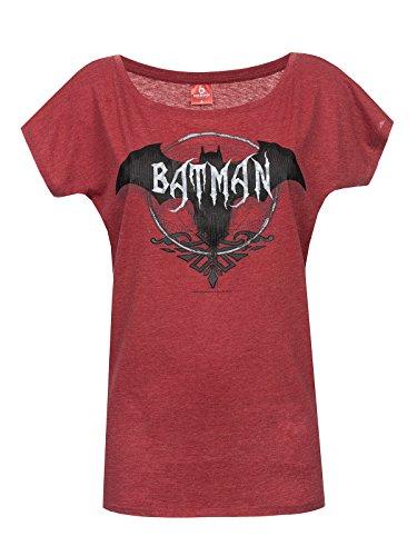 Batman Dark Bat Camiseta Mujer Rojo jaspeado M