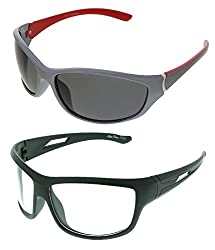 Vast Combo Of 2 Fashion All Day And Night Vision Biking, Driving And Sports Unisex Sunglasses (PREMIUM_C5_SIL_RED_GREY_WK)