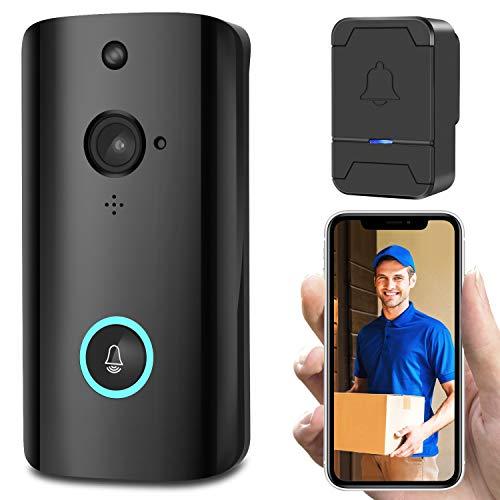 FJLOVE - Timbre de vídeo inalámbrico para casa, WiFi, cámara de Seguridad, videoportero con Timbre Interior, 2 vías, visión Nocturna, detección de Movimiento, Control de aplicación para iOS y Android