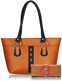 Fristo Women Handbag And Wallet Combo(FRWC-055)Tan And Black