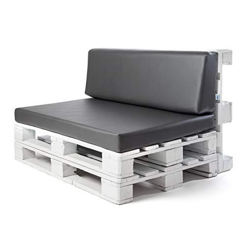 Conjunto colchoneta para sofas de palet y respaldo Gris Ceniza 1 x Unidad Cojin relleno con espuma...