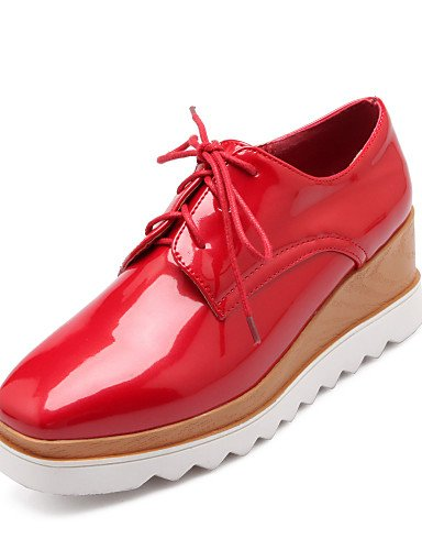 ZQ Scarpe Donna - Stringate - Casual - Creepers / Punta arrotondata - Plateau - Vernice - Nero / Rosso / Bianco , red-us10.5 / eu42 / uk8.5 / cn43 , red-us10.5 / eu42 / uk8.5 / cn43 white-us8 / eu39 / uk6 / cn39