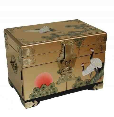 Newquay-Bonsai Gold Leaf with Cranes Jewellery Box Oriental Furniture