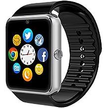 Reloj inteligente CulturesIn GT08, de pantalla táctil, con Bluetooth, máquina fotográfica, ranura para tarjeta SIM, cuentapasos, control del sueño, para Android (funciones completas) e iOS (funciones limitadas), negro