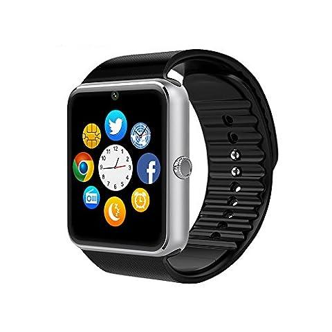 Smart Watch, CulturesIn GT08 Écran tactile Bluetooth Montre-bracelet avec caméra / Carte SIM Analyse de la fente / podomètre / Surveillance du sommeil pour Android (Fonctions complètes) et IOS (Fonctions partielles) (black)