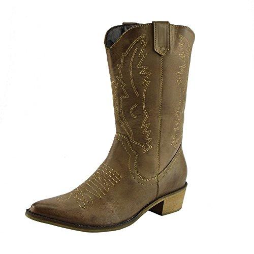 Damen Western Leder Cowboy Stiefel Spitz Zehen Damen Breite Kalb Stiefel - UK 8 / EU 41, (Stiefel Cowboy Western)