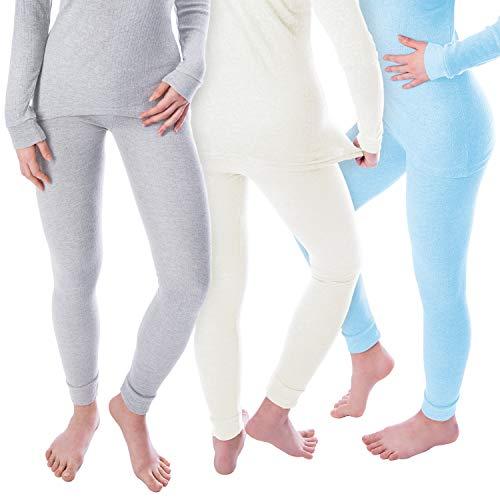 Black Snake Damen Thermo Unterhosen Set   3 lange Unterhosen   Funktionsunterhosen   Thermounterhosen 3er Pack - Creme/Grau/Hellblau - M