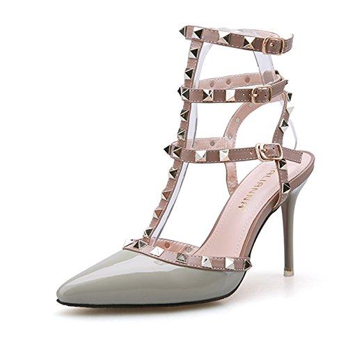 LGK&FA Estate Donna Sandali tacco raffinati sandali moda estate scarpe a punta Roma rivetti scarpe Tacchi Alti 36 Grigio Chiaro 38 light grey