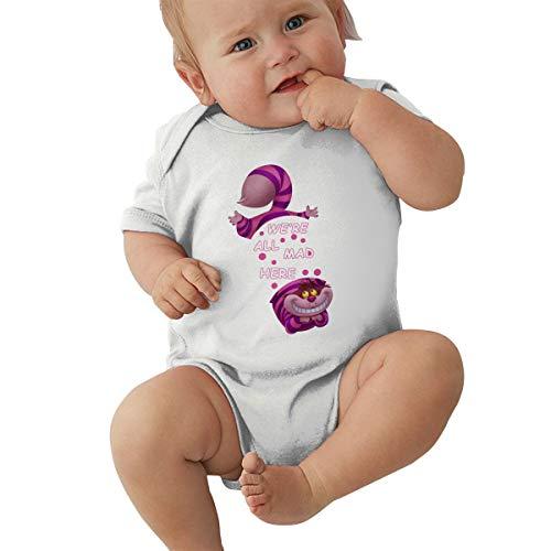 Wunderland Muster Im Kostüm Alice Kind - Queen Elena Baby Body Alice im Wunderland Grinsekatze, Einteiler aus Reiner Baumwolle Gr. 12 Monate, weiß