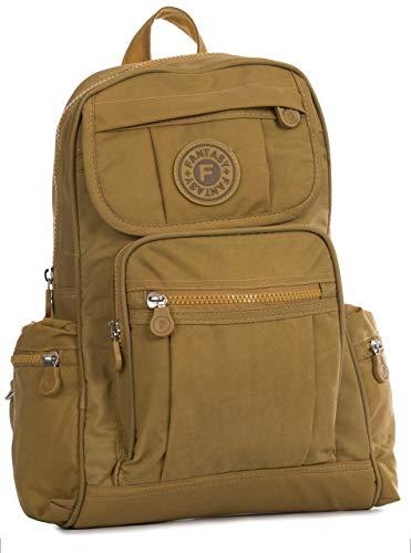Big Handbag Shop Unisex regendichter Stoff leicht Mehrfachtasche Reiserucksack mit Elefantenanhänger - kleine Größe, Gelb - senfgelb - Größe: Einheitsgröße - Stoff Mini Anhänger