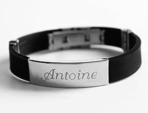 Nom Bracelet ANTOINE - Hommes personnalisé Silicone & Ton Argent gravée en or Bracelet. Y compris boîte-cadeau et un sac-cadeau. Plaque de 5mm d'épaisseur.