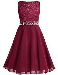 TiaoBug Festlich Mädchen Kleid für Kinder Prinzessin Spitzen Kleider Hochzeit Blumenmädchenkleid 92 104 116 128 140 152 164
