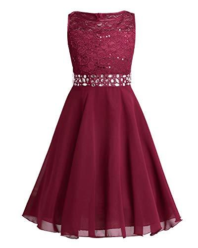 (Tiaobug Festlich Mädchen Kleid für Kinder Prinzessin Spitzen Kleider Hochzeit Blumenmädchenkleid 92 104 116 128 140 152 164 Rot 140)
