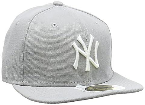 New Era Erwachsene Baseball Cap Mütze Kids Mlb Basic NY Yankees 59Fifty Fitted, Grey/White, 638, 10879080