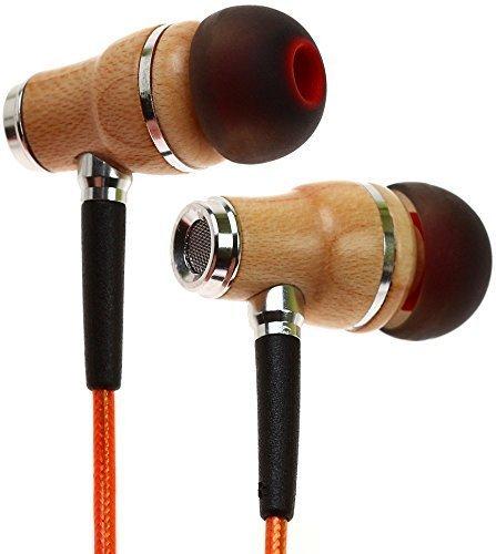 Auriculares Symphonized NRG 2.0 Premium de madera auténtica con aislamiento de ruido | Auriculares | Auriculares con cable de tecnología de blindaje innovadora y micrófono (Naranja)