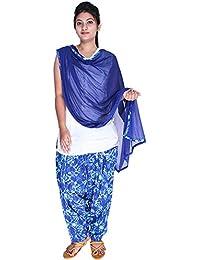 Womens Cottage Women's Shibori Printed Cotton Semi Patiala Salwar & Matching Chiffon Dupatta With Lace - B06WD7NH44
