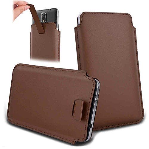 Handytasche für Smartphones zwischen 143x73x7mm bis 151x79x10mm aus strapazierfähigen Kunstleder. Schöne Handyhülle mit bedruckten Designs / Motiven und Ausziehschlaufe. Farbe : braun