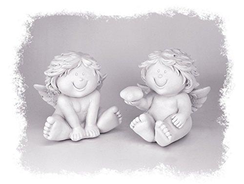 engel Engel Kind Sitzend im Set je 7x8 cm, Polystein Weiß, Dekofigur Dekoengel Babyengel Engelkind Engelchen Engelbaby Mit Stern (Alltags-engel 2)