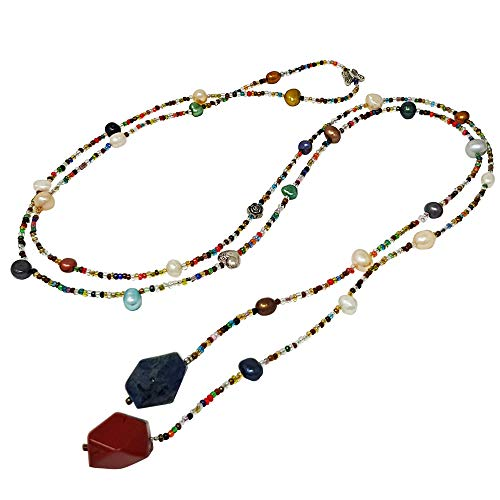 TreasureBay Halskette mit Süßwasserperlen und Edelsteinen, extra lang, offen, für Damen und Mädchen (Rot Und Blau Halskette)