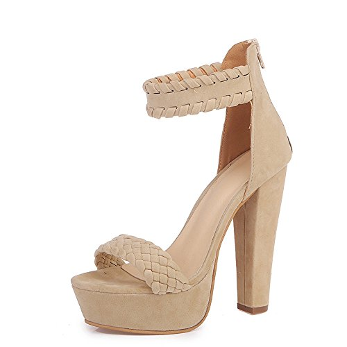 Zapatos Mujer ZARLLE Zapatos De Tacón Mujer Primavera Verano Sandalias Fiesta Super High Heels Plataforma De Tacón Alto Sandalias De Tacón Grueso Zapatos Romanos (37, Beige)
