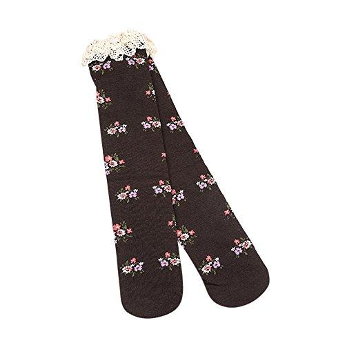 Strumpf Kaffee Schenkel-hoher (Rosennie Baby Mädchen Knie Schenkel hohe Socken Prinzessin Spitze Blumen Stiefel Socken Winter Warme Socken Anti Rutsch Baumwolle Strümpfe Overknee Strümpfe (Kaffee, Einheitsgröße))
