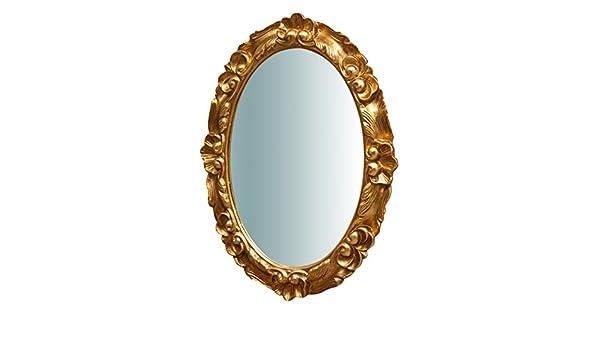 Biscottini Specchio Specchiera da parete stile Shabby in legno con finitura bianca anticata misure L50xPR4xH65 cm produzione Artigianato Fiorentino Made in Italy