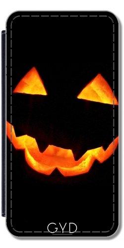 DesignedByIndependentArtists Leder Flip Case Tasche Hülle für Huawei P8 Lite (ALE-L21) - Halloween Kürbis by hera56