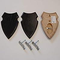 3 unidades REH Bock escudo trofeos carteles con 1 compartimento de pino en roble oscuro con 3 unidades de oido grapas AF 16 x 10 cm