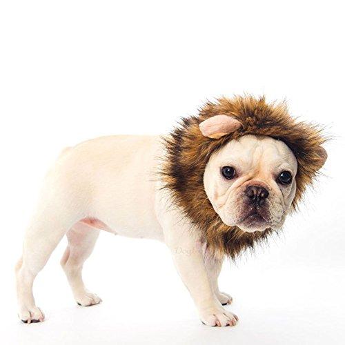 Ducomi® Simba - von Mane Lion King für Hunde und Katzen in weiches Haar Ecological mit Ohren - Machen Sie die Perücke, um Ihren Hund und Ihre Katze Trägt (L, Braun) (Lion's Mane Kostüm Perücke)