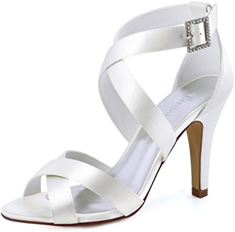 Elegantpark HP1705 Donna Peep Toe Stiletto Tacco A Spillo Sandali con Cinturini Fibbia Satin Partito Scarpe da... | New Style  | Uomo/Donna Scarpa