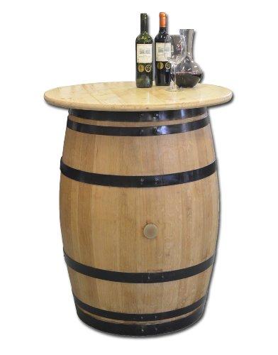 Dekofass, Stehtisch aus echtem Weinfass, Gartentisch mit Tischplatte Klarlack D80 cm - Fass geschliffen und lackiert