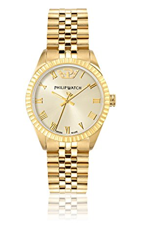 Philip Caribe Women's Quartz Watch with Beige Dial Analogue Display and Gold Stainless Steel Strap R8253597518