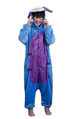 Happy Cherry Kind Schlafanzug Warmer Flanell Einteiler Pyjamas Unisex Cosplay Kostüme Tierkostüme Grautier Dicke Nachtwäsche Kostüm Für Halloween Animal Sleepwear Geeignet Für 10 Bis 11 Jahre - (Halloween Für Kostüme Mädchen Happy)