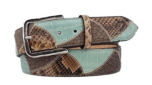Cinturón de piel y pitón, forro de cuero nobuck real, hecho en Italia 4 cm unisex acortar (Agua verde, TAMANO 50-MISURA TOTAL 125 CM-CONEXION 110 CM)