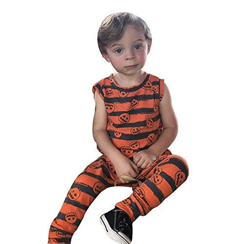 EARS - Kleinkind-Säuglingsbaby-Mädchen-Kürbis-Sleeveless Overall-Halloween-Ausstattung (80, (Kostüm Ideen Halloween Herren Size Plus)