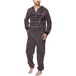 SLOUCHER - Mono Pijama de Hombre de Tejido Polar con Cierre de Cremallera y Capucha, Color:Gris Antracita, Größe:M