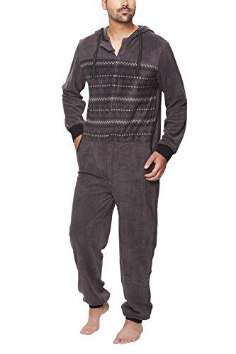SLOUCHER - Jumpsuit grenouillère une pièce pour homme avec fermeture éclair et capuche, Color:anthrazit, Größe:L