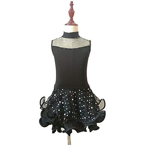 Kinder Latin Dance Kleidung Back to School Kostüm Performance Dancing Dress Ärmelloser Rock für Mädchen (Baby Im A Star Dance Kostüm)
