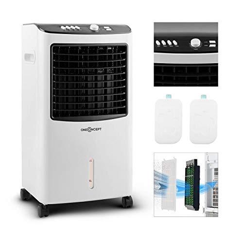 oneConcept MCH-2 V2 mobiles Klimagerät Luftkühler Ventilator zusätzliche Luftbefeuchtungs- und Luftreinigungsfunktion (65 Watt, 400 m³/h Luftdurchsatz, inkl. 2 x Kühlakku) schwarz-weiß -