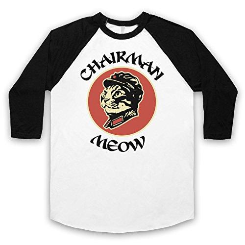 Chairman Meow Cat 3/4 Hulse Retro Baseball T-Shirt Weis & Schwarz