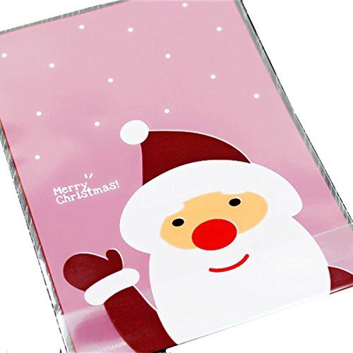 MagiDeal Babbo Natale Borsa Rosa Biscotto Panificio Dono Caramelle Sapone Favore Violoncello Opp Adesivo 100x Accessorio Regalo