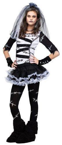 5 Stück Mädchen Tot Braut of Chucky Frankenstein + Strumpfhose Halloween Buch Tag Kostüm Verkleidung Outfit - Schwarz, 12-14 (Kostüm Frankenstein Halloween Mädchen)