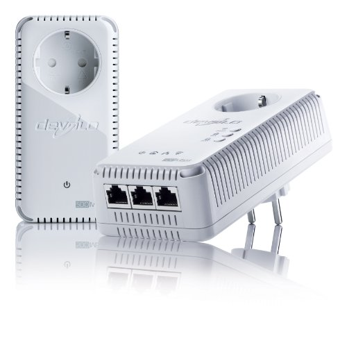 devolo dLAN 500 AV Wireless+ Starter Kit Powerline (Internet über die Steckdose, WLAN, 3x LAN Ports, 2x Powerlan Adapter, PLC Netzwerkadapter, WLAN Booster, WiFi Move) weiß