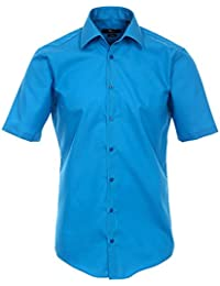 Venti Hemd Stahlblau Uni Kurzarm Slim Fit Tailliert Kentkragen 100% Feinste Baumwolle Popeline Bügelfrei