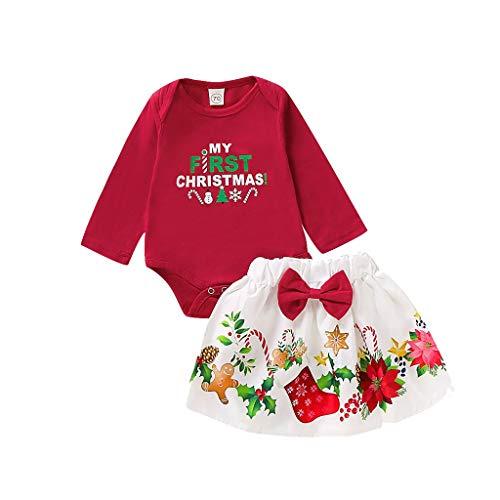 Weihnachten Baby Kleidung Set,Neugeborenes Baby Jungen Mädchen Weihnachten Brief Printed Rot Langarm Strampler Overall + Cartoon Rock Outfits