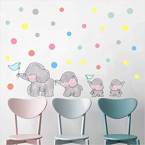 WDDWQT Pegatina De Pared,Cartoon Elefantes Lunares Calcomanías De Pared De Vinilo Pegatinas...