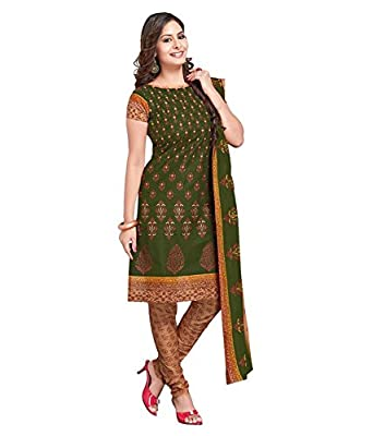 Dfolks Women's Cotton Printed Unstitched Dress Material (Green) - Green Package Contents: 1 Top, 1 Bottom & 1 Dupatta