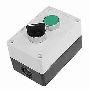 TTcity AC 400V 10A Grün Flach Rund Cap Momentary Wahlschalter Push Button Bahnhof