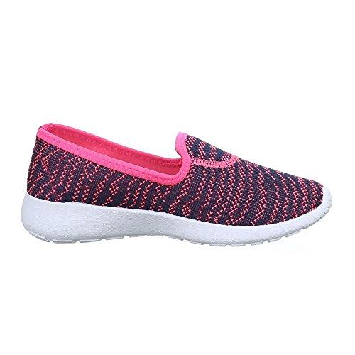Damen Schuhe, 51156-Y, HALBSCHUHE SPORTLICHE SLIPPER Pink Lila