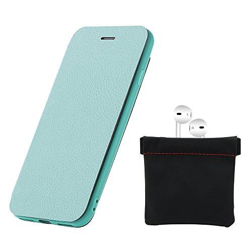 Custodia iPhone 8, Flip Premium Portafoglio Custodia in sintetica Protettiva Custodia [Cuffie Custodia] per iPhone 8. (Blu Scuro) Verde Menta